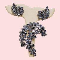 Vintage Trifari Contessa Blue Rhinestone Brooch Earrings Set