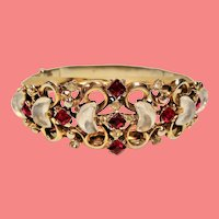 Vintage Trifari Claire De Lune Red Rhinestone Hinged Bangle Bracelet