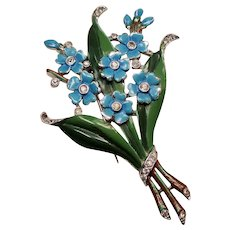 Vintage Trifari Alfred Philippe Forget Me Not Enamel Flowers Fur Clip Brooch