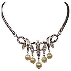 Vintage Trifari Rhinestone Faux Pearl Drops Necklace