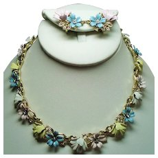 Vintage Trifari Fleurette Pastel Enamel Flowers Necklace Earrings Set