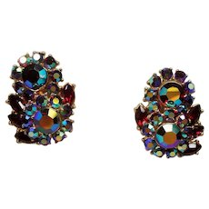 Vintage Trifari Red Aurora Borealis Rhinestone Flower Cluster Earrings