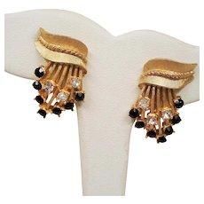 Vintage Trifari Red Rhinestone Spray Earrings