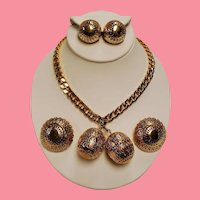 Vintage Trifari Reticulated Golden Orbs Necklace Scatter Pins Earrings Parure