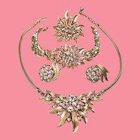 Vintage Trifari Rhinestone Flower Starburst Grand Parure
