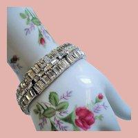 Vintage Trifari Alfred Philippe Vanity Fair Baguette Rhinestone Bracelet
