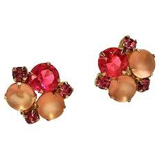 Vintage Three Shades of Pink Rhinestone Earrings