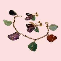 Vintage Tumbled Gemstones Gold Filled Bracelet Drop Earrings Set