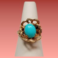 Vintage Turquoise Free Form 14K Ring