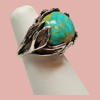 Vintage Turquoise Leaves and Vines Sterling Ring