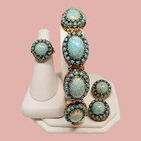 Vintage Faux Turquoise Matrix Glass Cabochon Stone Bracelet Ring Earrings Parure