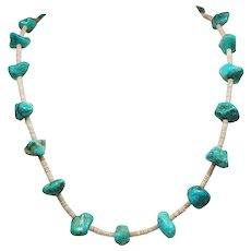 Vintage Native American Turquoise Nugget Heishi Shell Longer Length Necklace