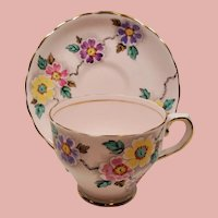 Vintage Tuscan England Bone China Blush Pink Floral Enamel Teacup and Saucer