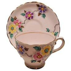 Vintage Tuscan England Bone China Blush Pink Floral Enamel Teacup and Saucer
