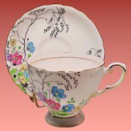 Vintage Tuscan England Bone China Pale Pink Teacup & Saucer Floral Pattern