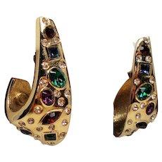 Vintage Ugo Correani Faux Jewels Huge Half Hoop Earrings