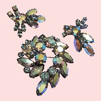 Vintage Regency Smoky Blue A.B. Rhinestone Brooch Earrings Set