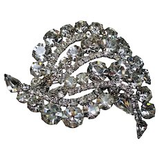 Vintage Incredible Colorless Rhinestone Huge Dimensional Brooch