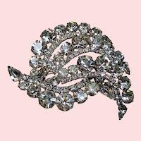 Vintage Incredible Unsigned Weiss Colorless Rhinestone Huge Dimensional Brooch
