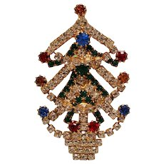 Vintage Rhinestone Christmas Tree Brooch Pin with Draped Garland