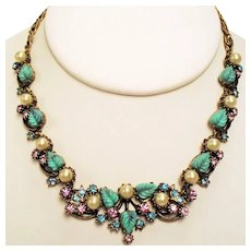 Vintage Florenza Faux Turquoise Molded Leaves Rhinestones Faux Pearls Necklace