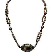 Vintage Chinese Faceted Garnet Unakite Bead Cloisonne Pendant Longer Necklace