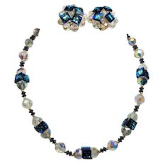 Vintage Vendome Peacock Blue Square Rivoli Crystals Choker Necklace Earrings Demi Parure