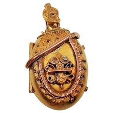 Antique Victorian Etruscan Revival Gold Filled Oval Locket