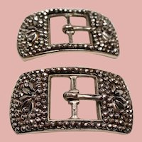 Antique French Cut Steel Small Shoe Buckles