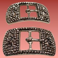 Antique French Cut Steel Shoe Buckles