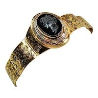 Vintage Victorian Revival Black Cameo Medallion Wide Bracelet