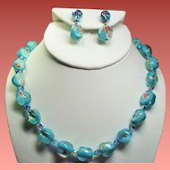Vintage Vogue Aqua Millefiore Glass Bead Necklace Drop Earrings Demi Parure