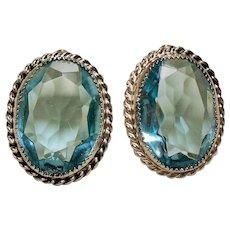 Vintage Whiting and Davis Aqua Glass Earrings