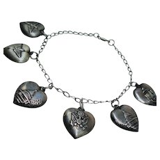 Vintage WWII Sterling Puffy Heart Sweetheart Charm Bracelet