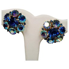 Vintage Warner Royal Blue Aurora Borealis Rhinestone Cluster Earrings