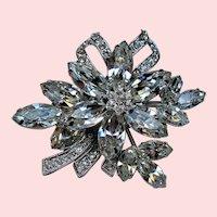 Vintage Weiss Colorless Navette Rhinestone Flower Brooch