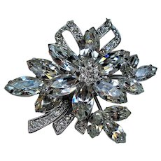 Vintage Weiss Colorless Navette Rhinestone Flower Brooch