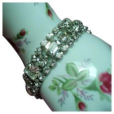 Vintage Weiss Emerald Cut Clear Colorless Rhinestone Bracelet