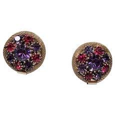 Vintage Weiss Fuchsia & Violet Rhinestone Earrings