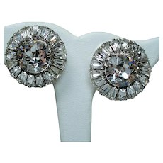 Vintage Weiss Huge Colorless Round Crystals & Trapezoid Rhinestone Earrings