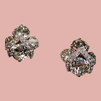 Vintage Weiss Iced Large Colorless Crystals Earrings