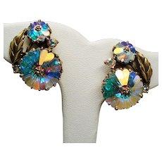 Vintage Weiss Margarita Rhinestone Flower Earrings