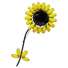 Vintage Weiss Huge Black Eyed Susan Daisy Ruffled Flower Brooch