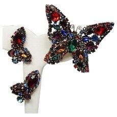 Vintage Weiss Jewel Tone Rhinestones Butterfly Brooch Earrings Set