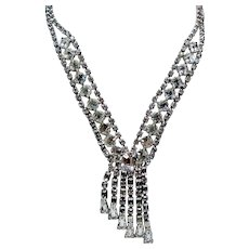 Vintage Weiss Clear Colorless Rhinestone Cascading Necklace