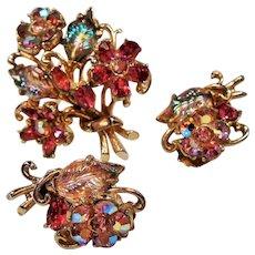 Vintage Weiss Rhinestone Flower Bouquet Brooch Earrings Set