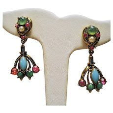 Vintage Weiss Cabochon and Rhinestone Drop Earrings