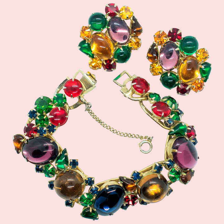 Vintage Chunky Statement Panel Bracelet Green Rhinestones Marble Cabochons Antique Gold Tone Setting  Vintage Costume Jewelry