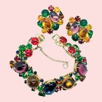 Vintage Weiss Colorful Glass Cabochon Chunky Rhinestone Bracelet Earrings Set