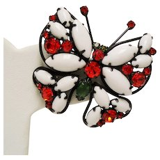 Vintage White Milk Glass Orange Rhinestone Butterfly Brooch